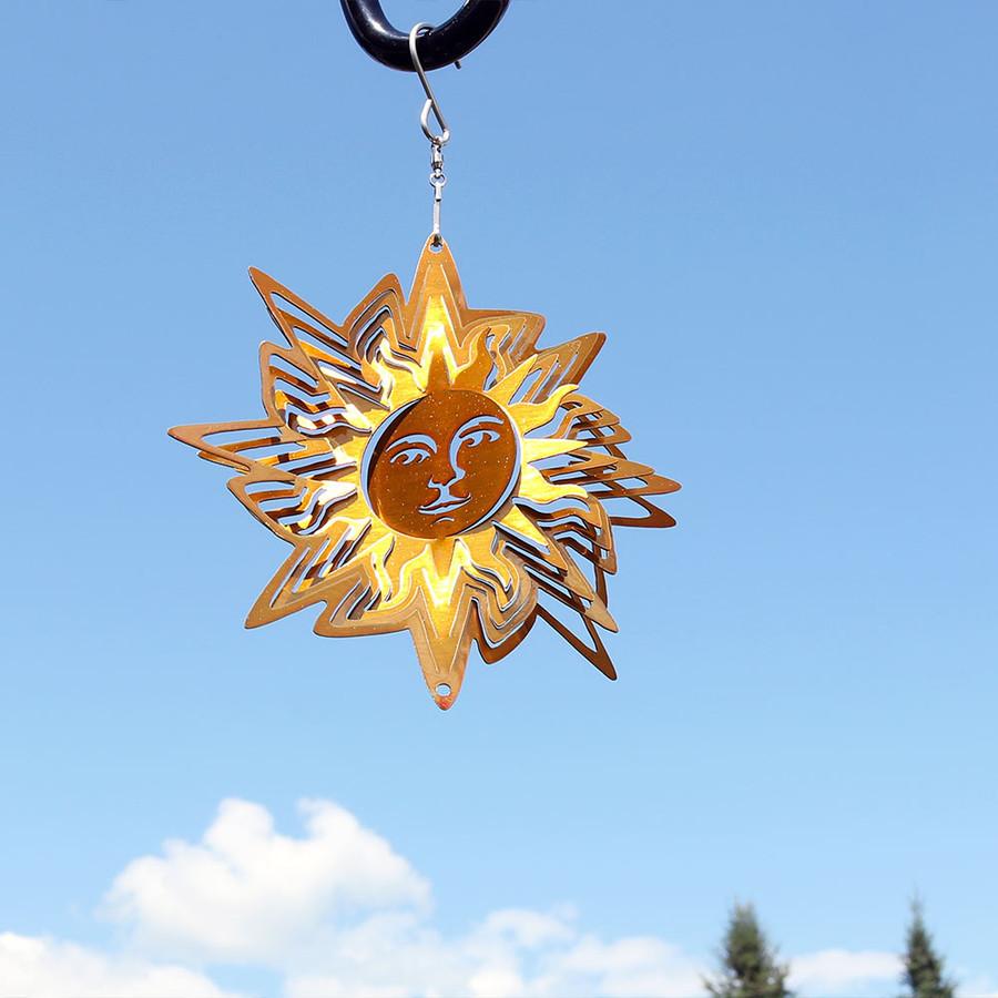Reflective 3D Gold Sun Whirligig Wind Spinner