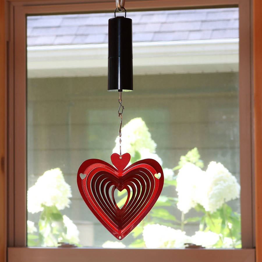 3D Heart Whirligig Wind Spinner with Battery Operated Motor