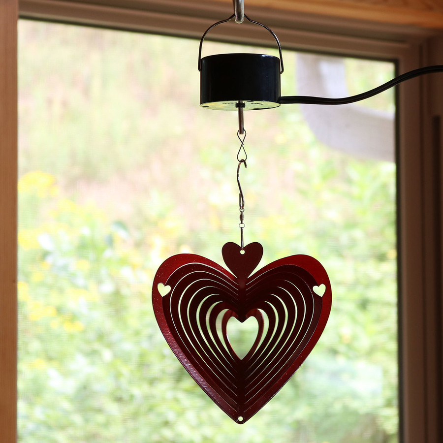 3D Heart Whirligig Wind Spinner with Corded Electric Motor