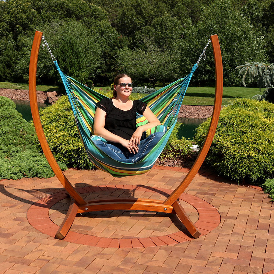Sunnydaze Hanging Hammock Chair Swing with Sturdy Space-Saving Wooden Stand for Indoor or Outdoor Use, Ocean Breeze