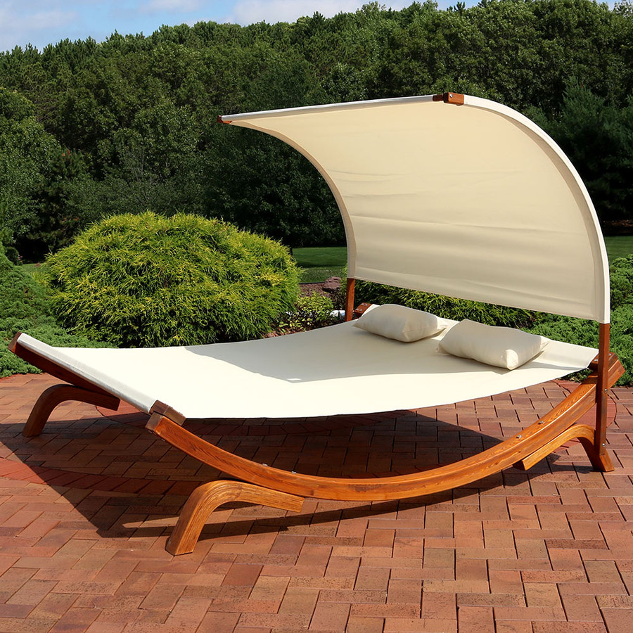 Sunnydaze Natural Colored Outdoor 2 Person Wooden Lounger with Canopy, Perfect for Patio or Poolside