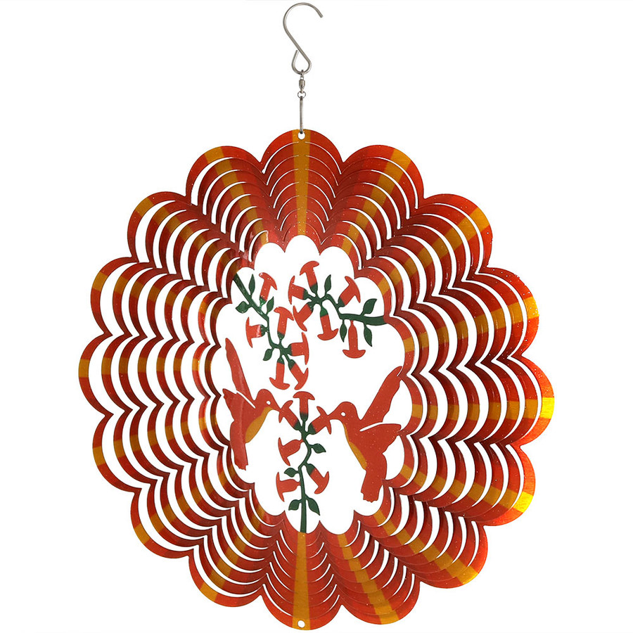 Sunnydaze Orange Hummingbird Wind Spinner with Hook, 12-Inch