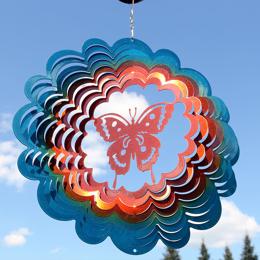 Reflective 3D Whirligig Butterfly Wind Spinner