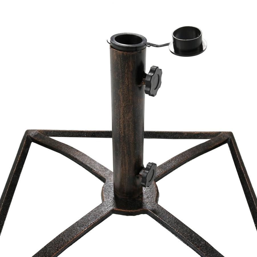 Sunnydaze Square Bronze Cast Iron Outdoor Patio Umbrella Base Stand, 17-Inch