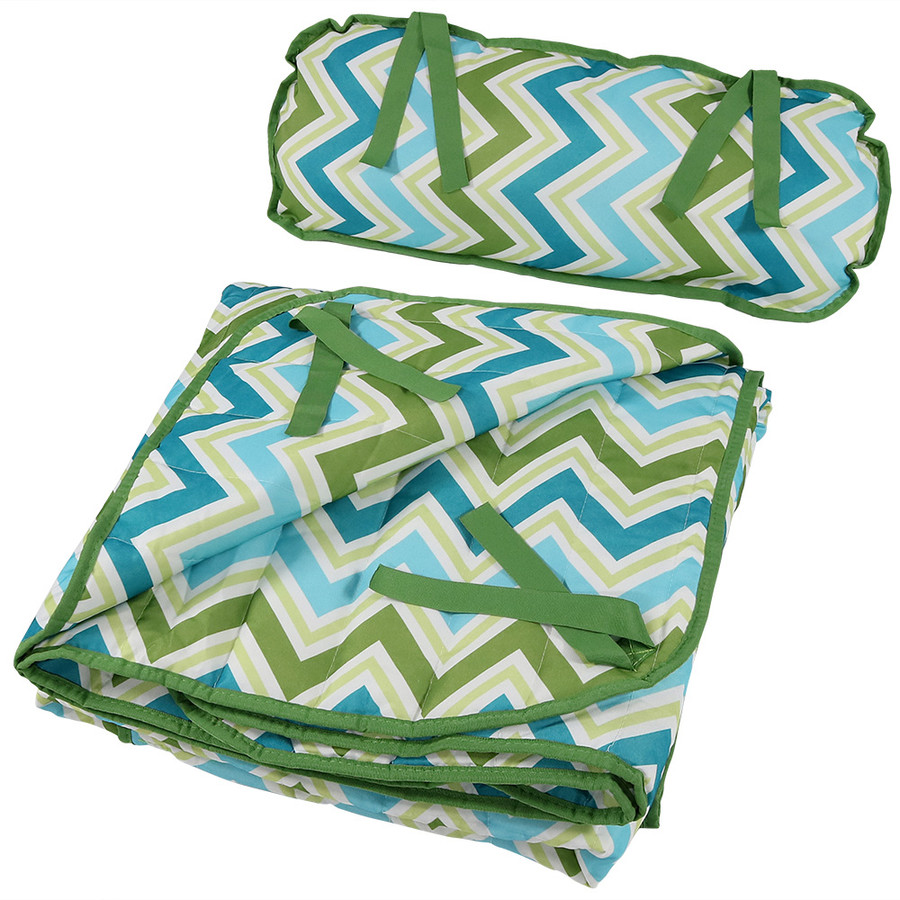 Blue and Green Chevron Pad and Pillow Folded