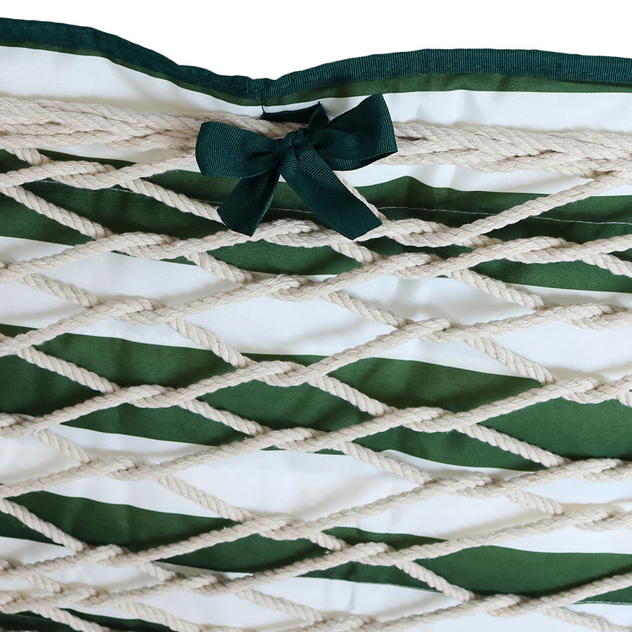 Green and White Stripe Ties on Hammock (Hammock NOT Included)