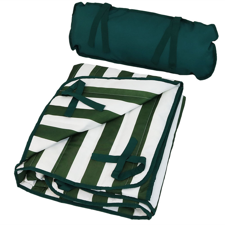 Green and White Stripe Pad and Pillow Folded