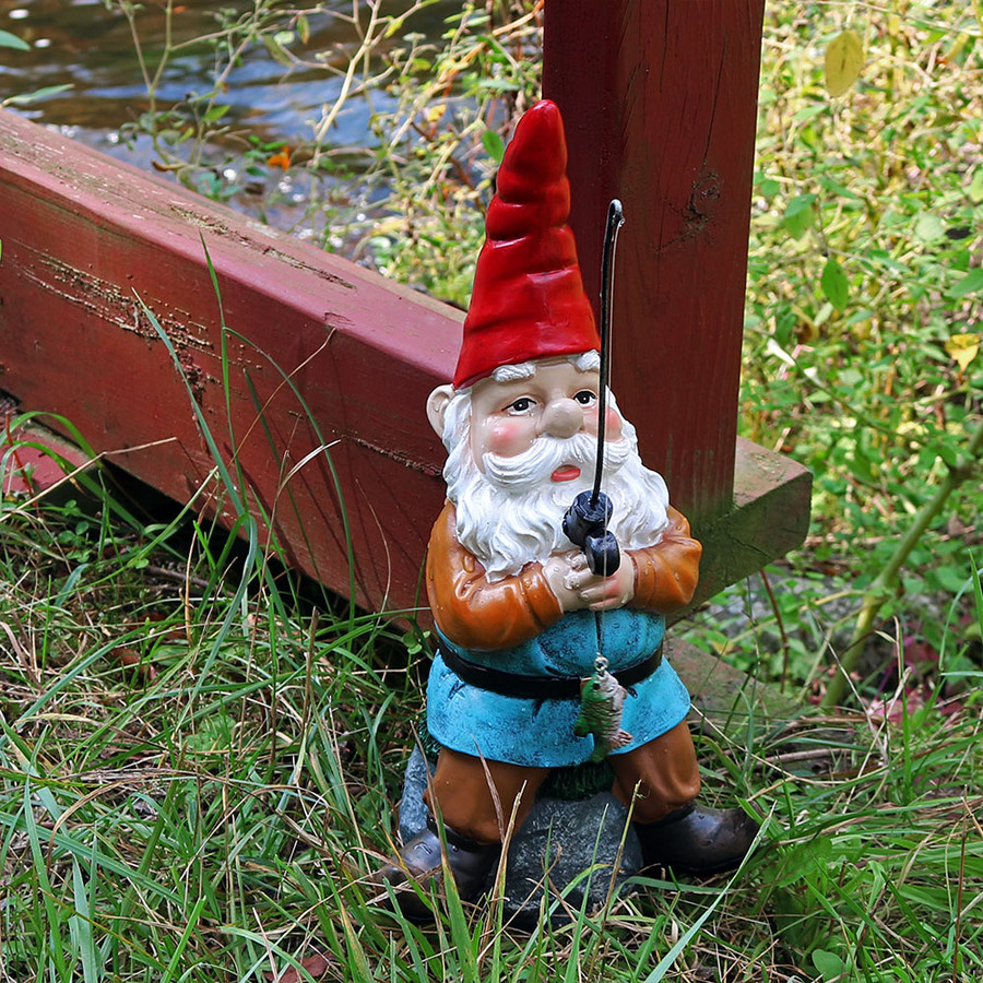 Floyd the Fishing Gnome, 12-Inch Tall by Sunnydaze Decor