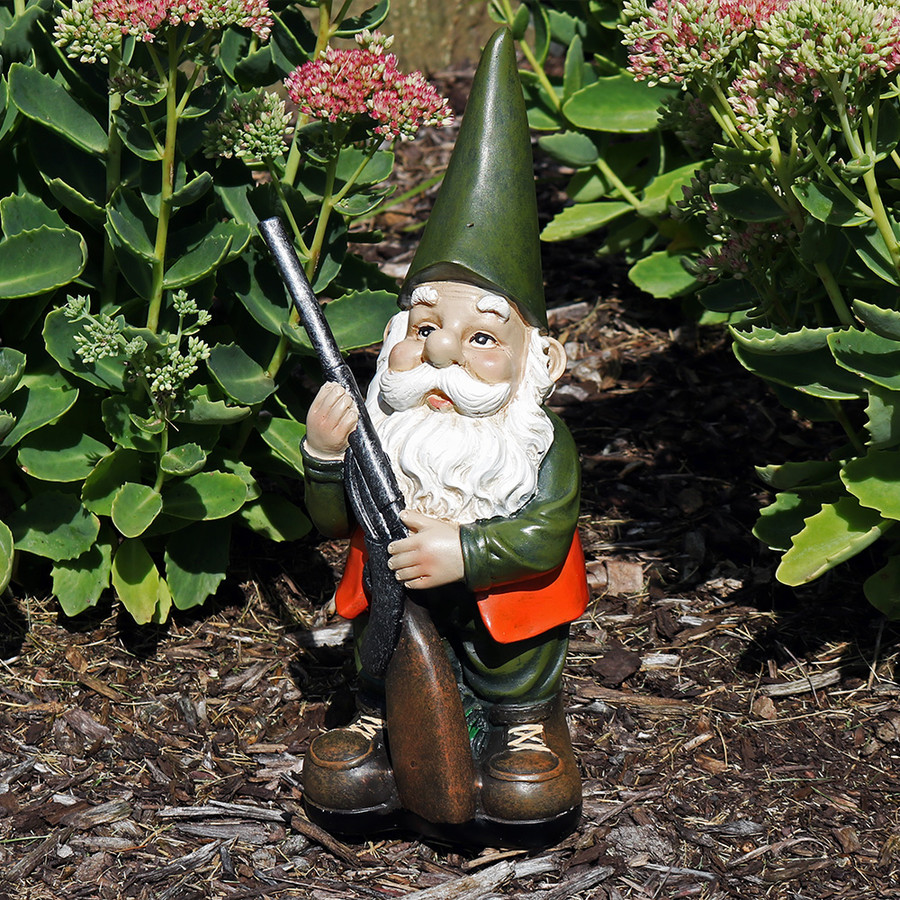 Hank the Hunting Gnome, 12-Inch Tall by Sunnydaze Decor