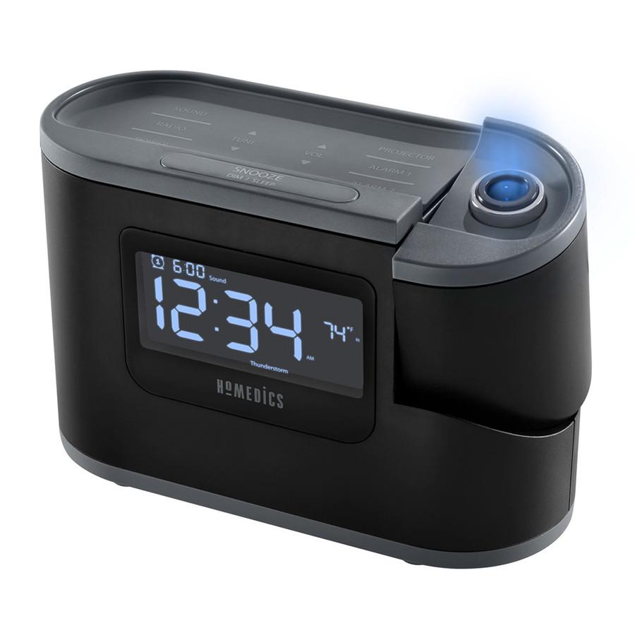 HoMedics SoundSpa Recharged Projection Alarm Clock with Temperature Sensor