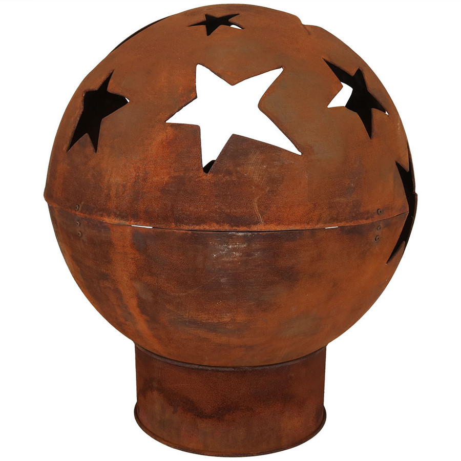 Back View of Starry Night Rustic Fire Pit Bowl