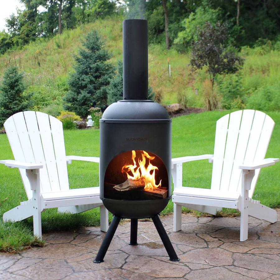 Sunnydaze 5-Foot Black Chiminea Wood-Burning Fire Pit