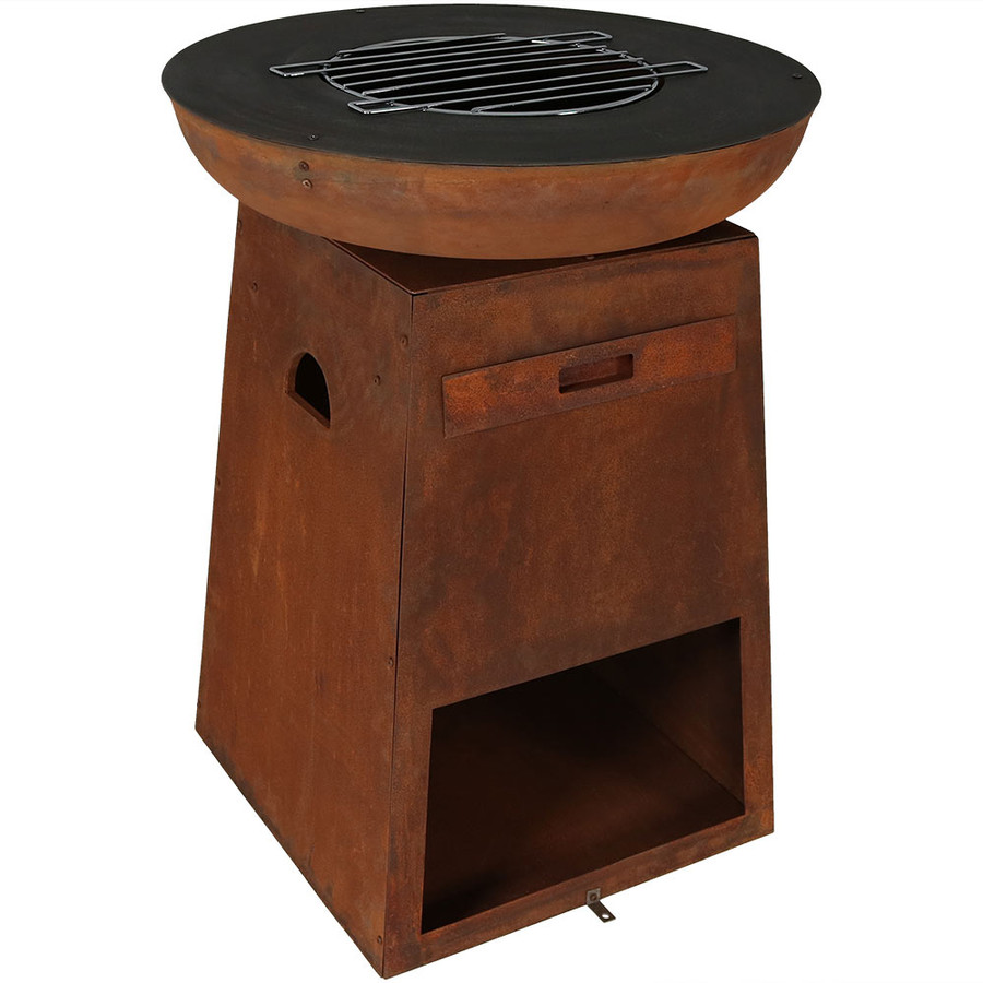 Rustic Fire Pit with Cooking Ledge, Grate and Log Storage