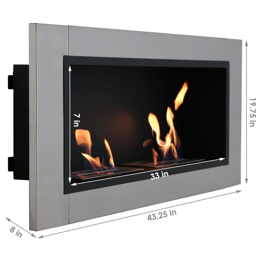 Sunnydaze Scalda Ventless Wall Mounted Bio-Ethanol Fireplace, 43-Inch
