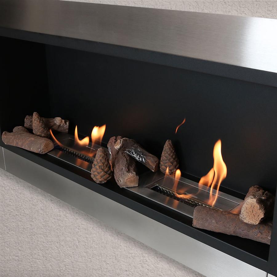 Sunnydaze 9 Piece Ceramic Indoor/Outdoor Wood Fireplace Log Set