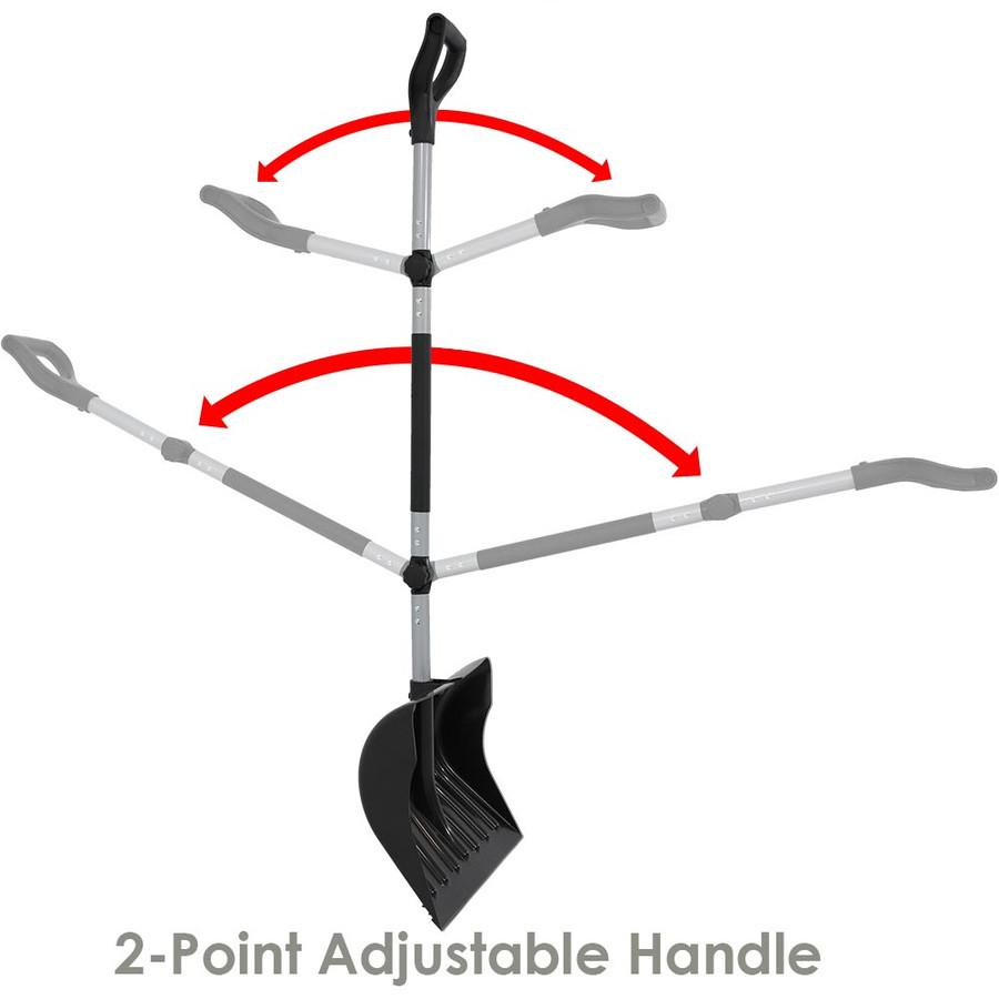 CASL Brands 18-Inch Adjustable Ergonomic Snow Shovel Pusher Combo Design