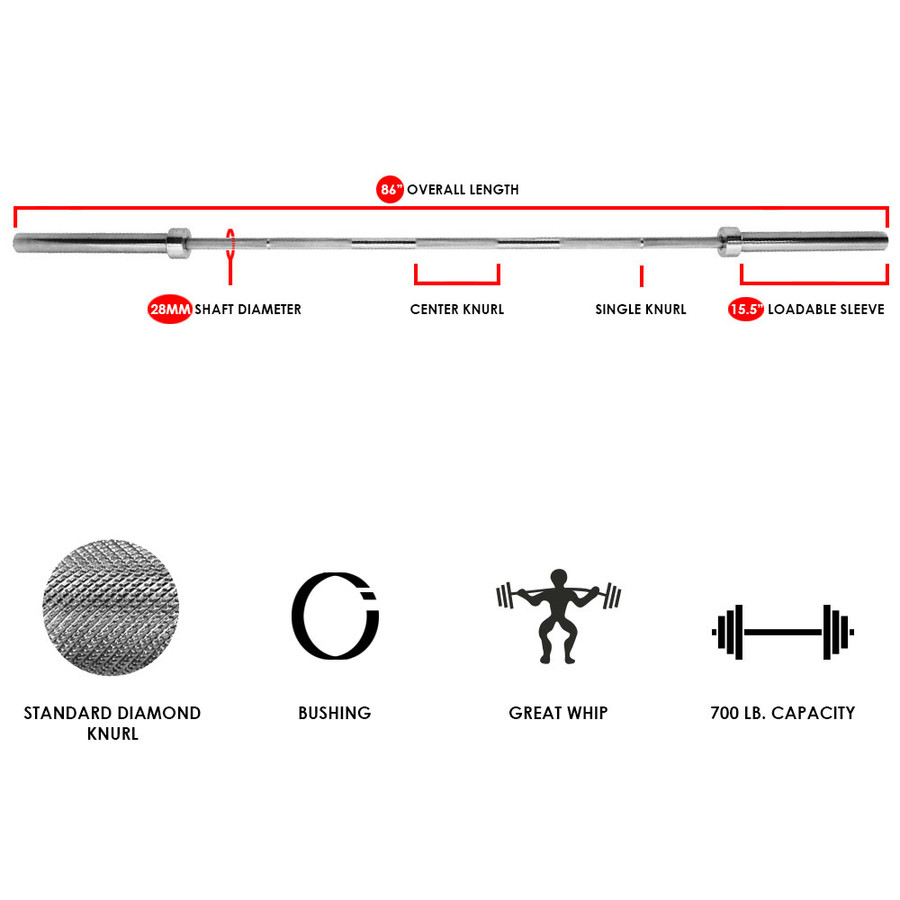 CASL Brands Olympic Barbell Bar, or Barbell and Spring Collar Clip Set