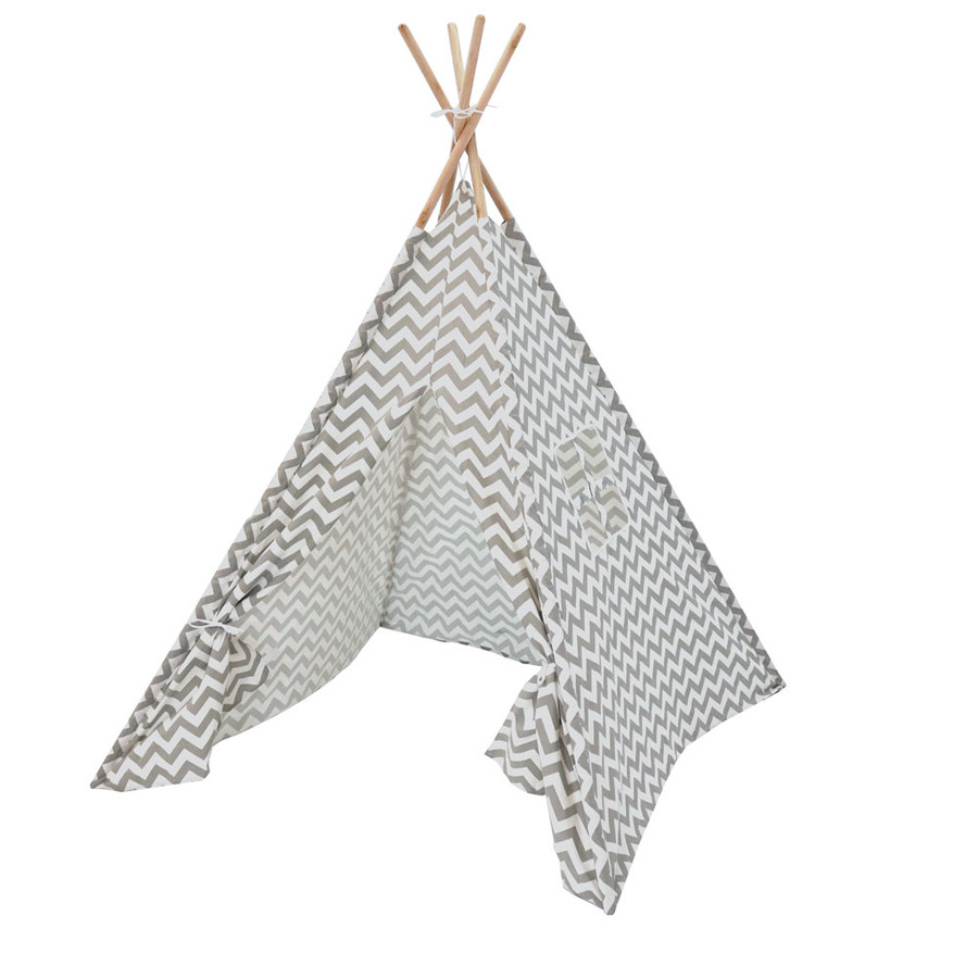 Sunnydaze Grey Chevron Canvas Kids' Teepee Play Tent with Carrying Case, 4-Pole Style, 5-Foot Tall