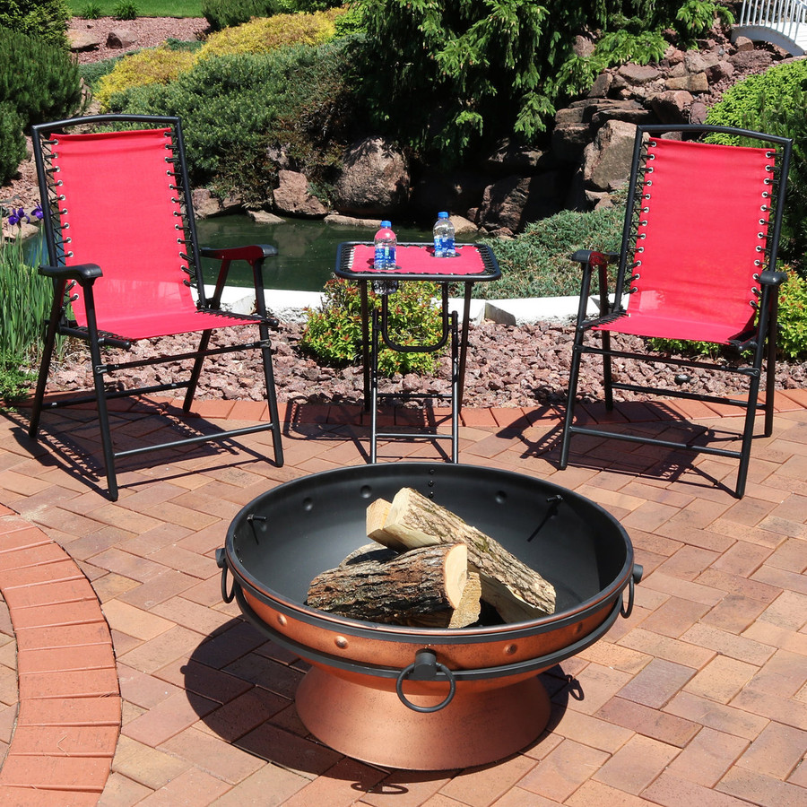 Red Outdoor Suspension Folding Patio Chairs with Side Table (Fire Pit not Included)