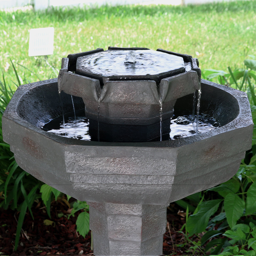 Sunnydaze 2-Tier Flowing Citadel Birdbath Fountain Solar on Demand Garden Fountain, 29 Inches, Includes Battery Pack