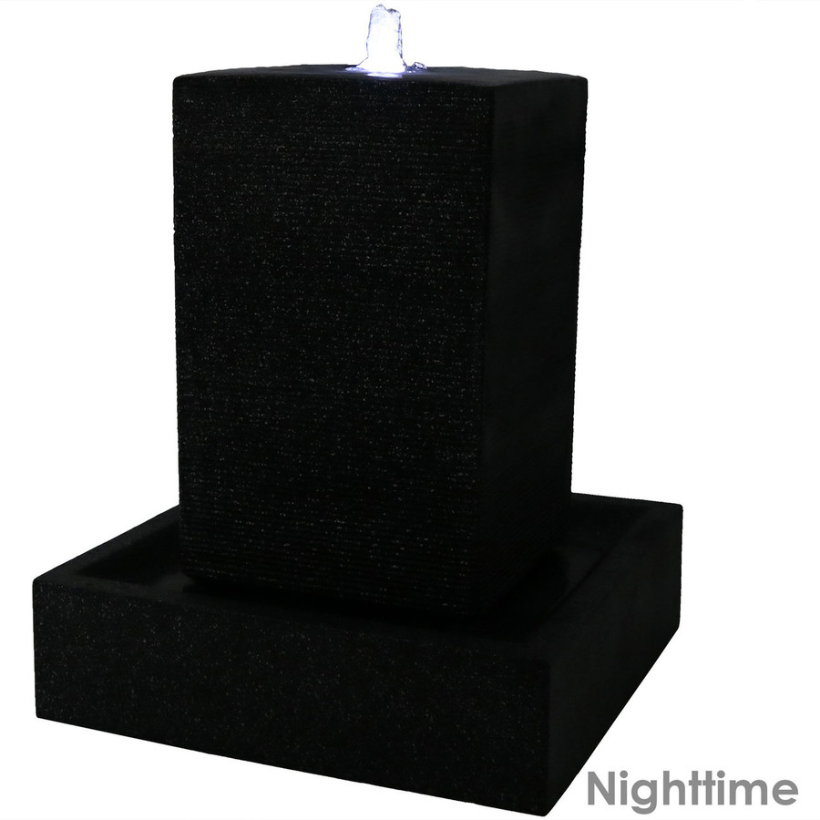 Large Pillar Outdoor Water Fountain with LED Lights Nighttime
