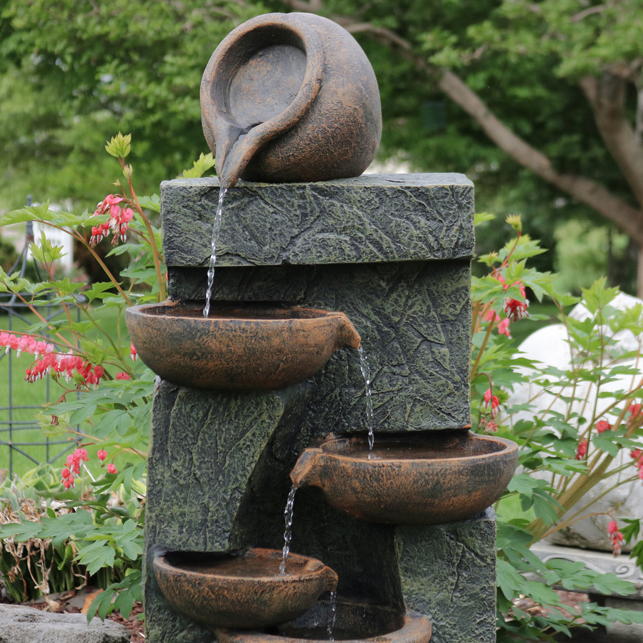 Sunnydaze Cascading Earthenware Pottery Stream Fountain, 39-Inch Tall