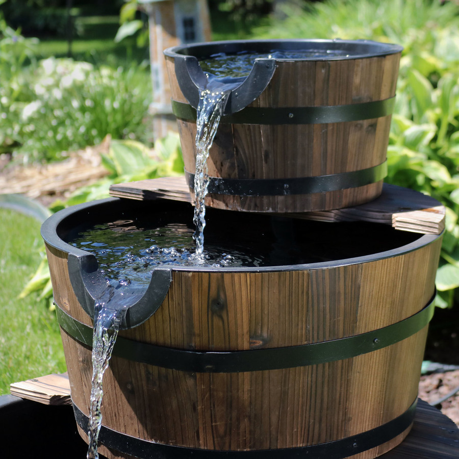 Sunnydaze Rustic 3-Tier Wood Barrel Water Fountain, 30-Inch Tall