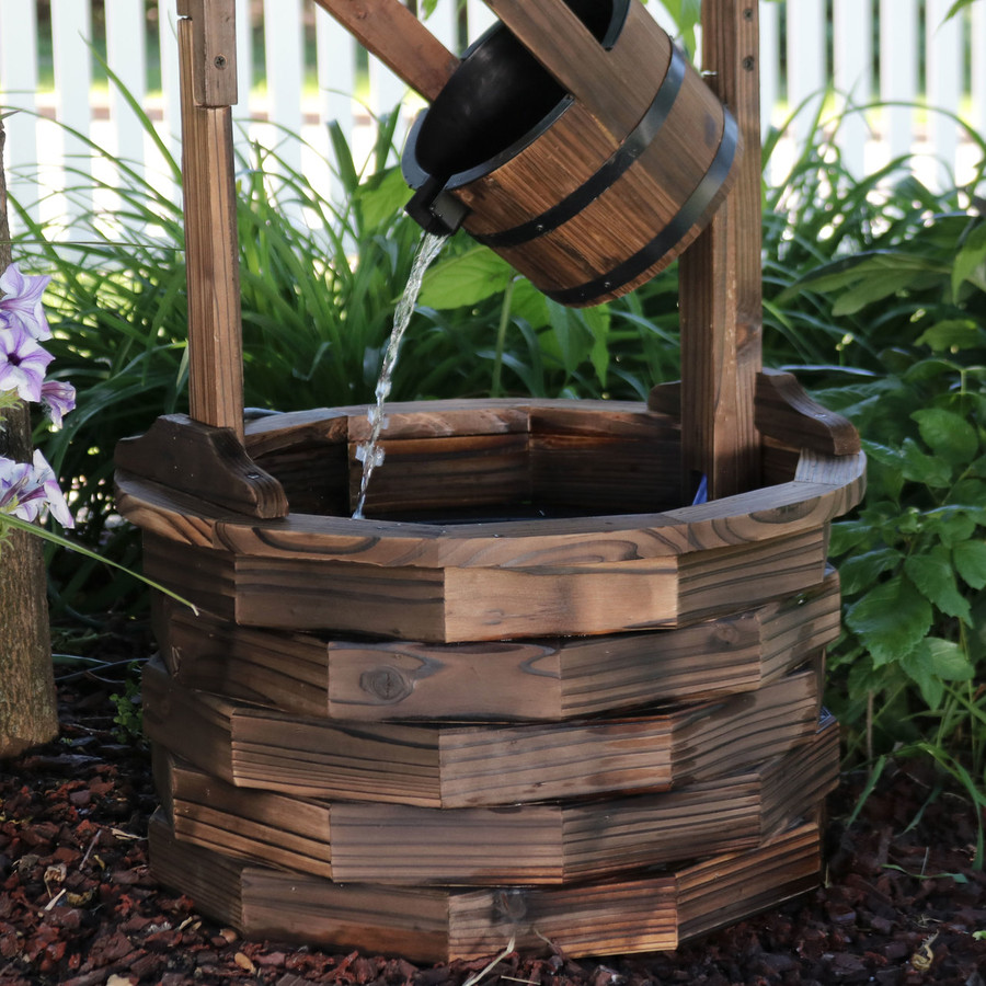 Sunnydaze Old-Fashioned Wood Wishing Well Fountain with Liner, 48-Inch Tall