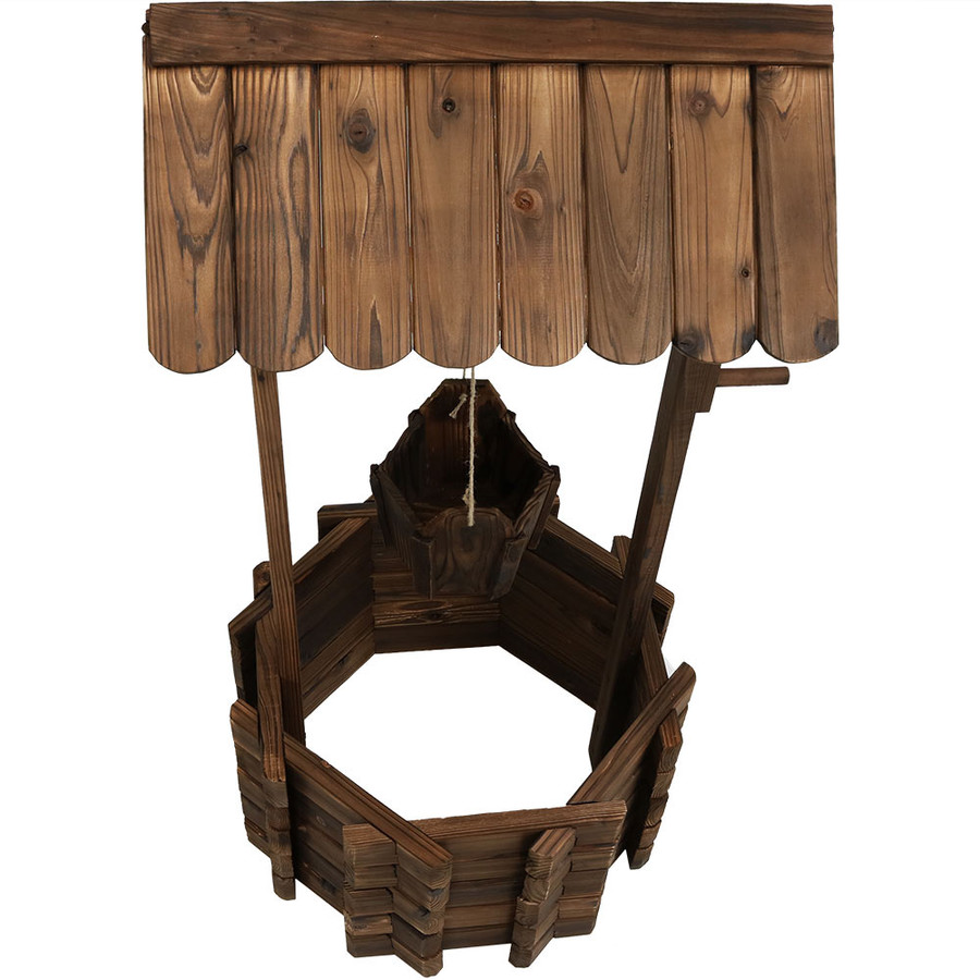 Top View of Wood Wishing Well Outdoor Garden Planter