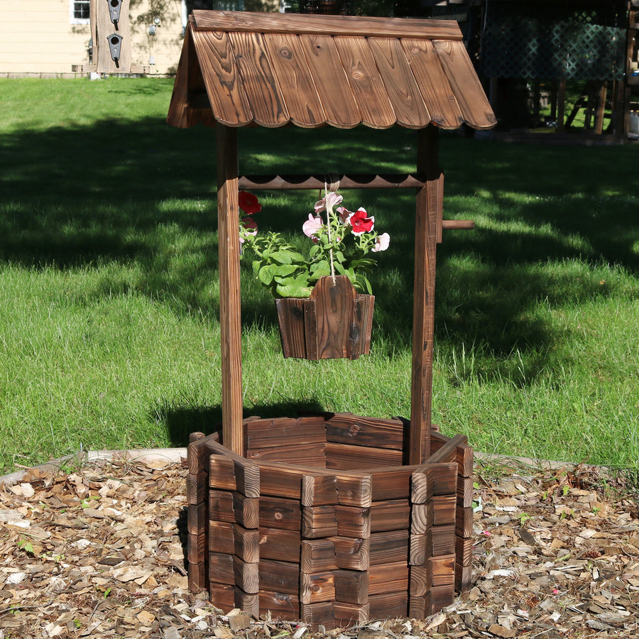 Wood Wishing Well Outdoor Garden Planter