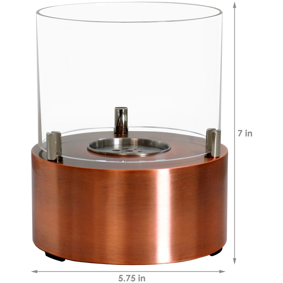 Dimensions of Copper Tre Poli Tabletop Fireplace