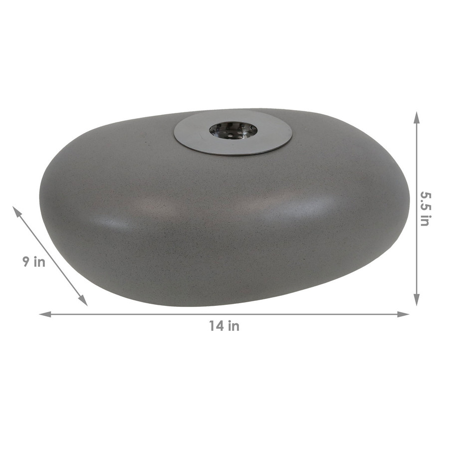 Dimensions of the 14-Inch Rock Tabletop Fireplace