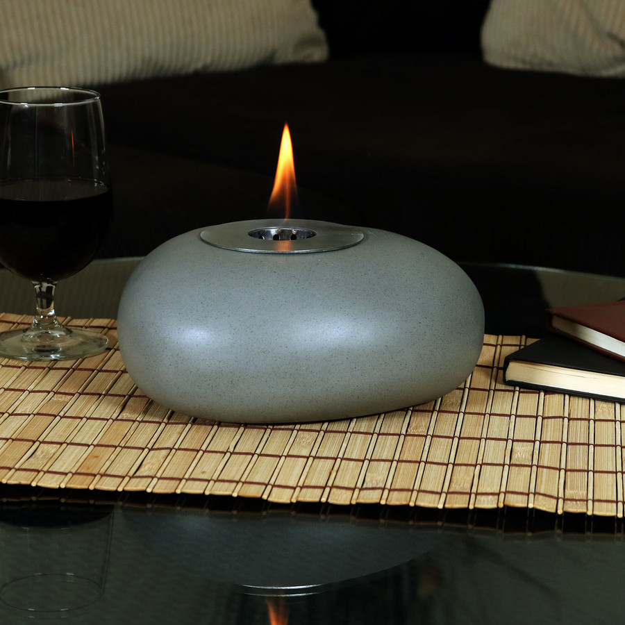 View of the 8-Inch Rock Tabletop Fireplace