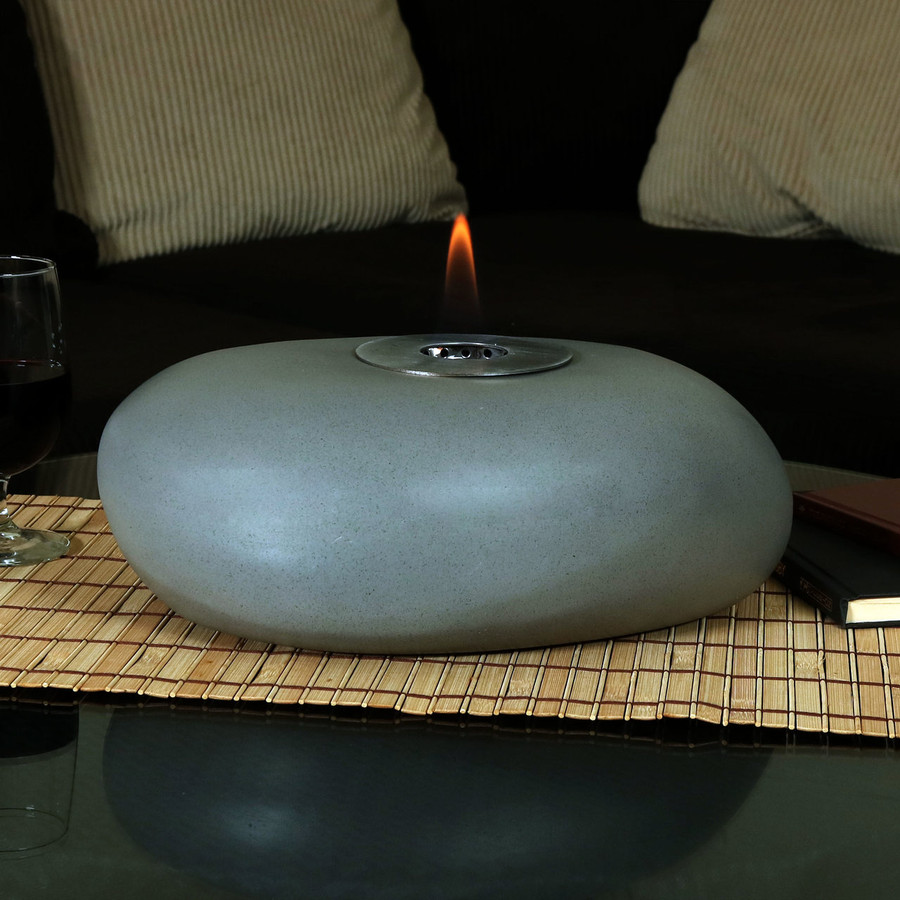 View of the 14-Inch Rock Tabletop Fireplace