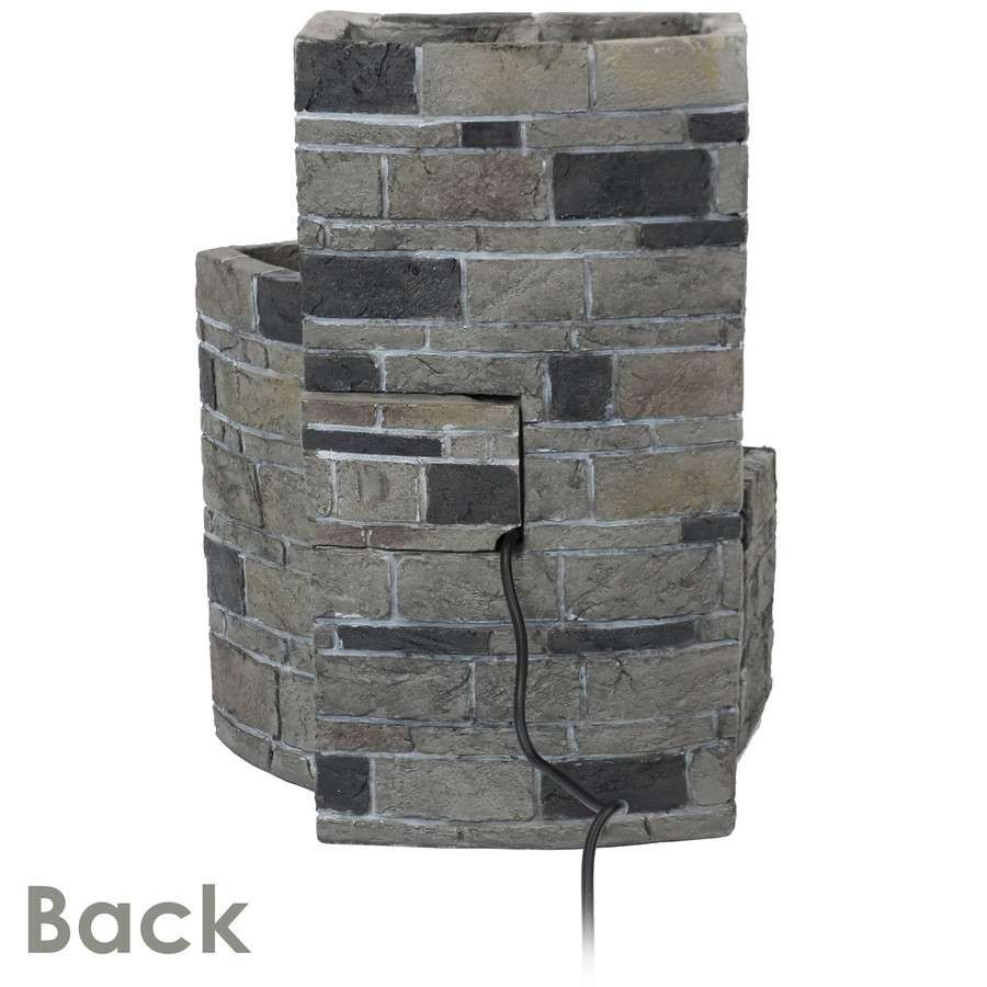 Sunnydaze 3-Tier Brickwork Outdoor Fountain with Spigot, 23-Inch Tall