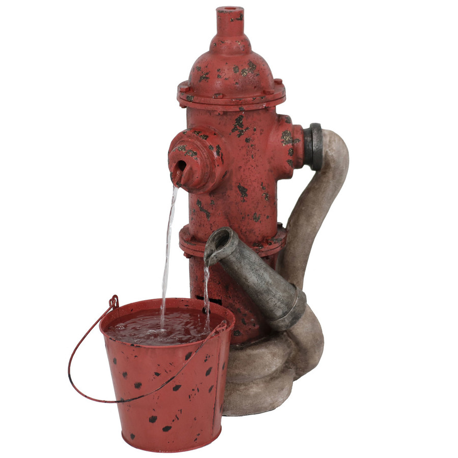 Sunnydaze Fire Hydrant and Hose Outdoor Water Fountain with Bucket, 28-Inch Tall