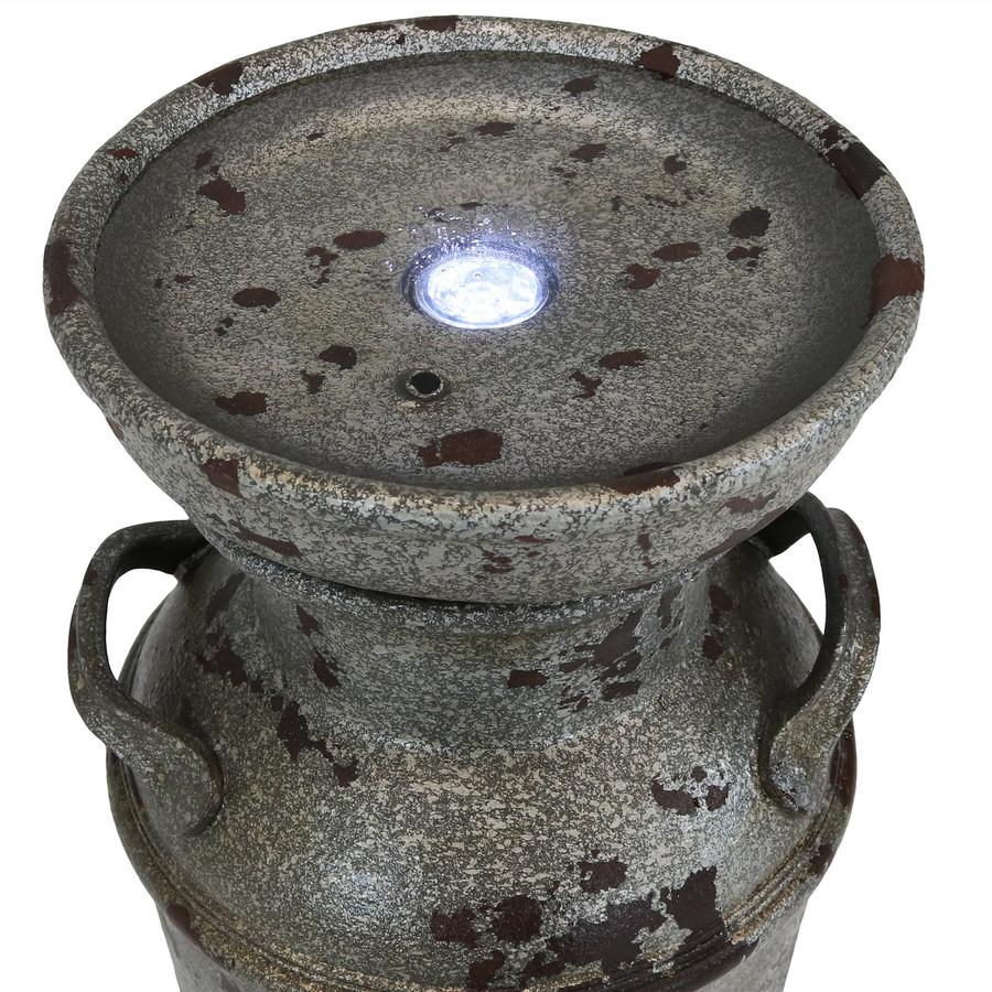 Sunnydaze Farmhouse Vintage Milk Can Birdbath Outdoor Fountain with LED Light, 20-Inch Tall