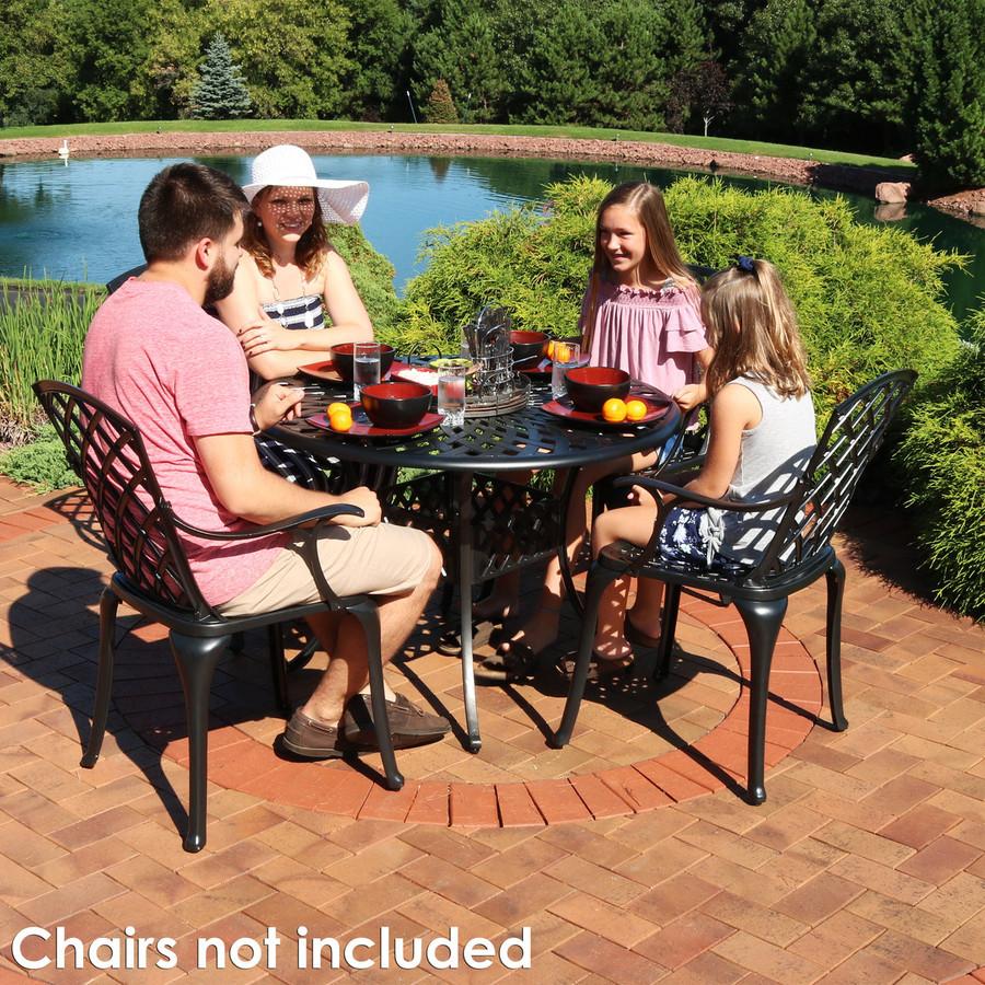 Cast Aluminum Round Patio Table with Crossweave Design