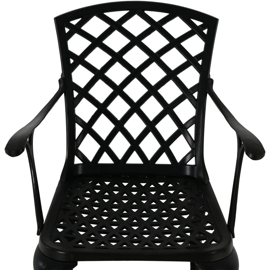 Detail of Cast Aluminum Patio Chairs with Crossweave Design