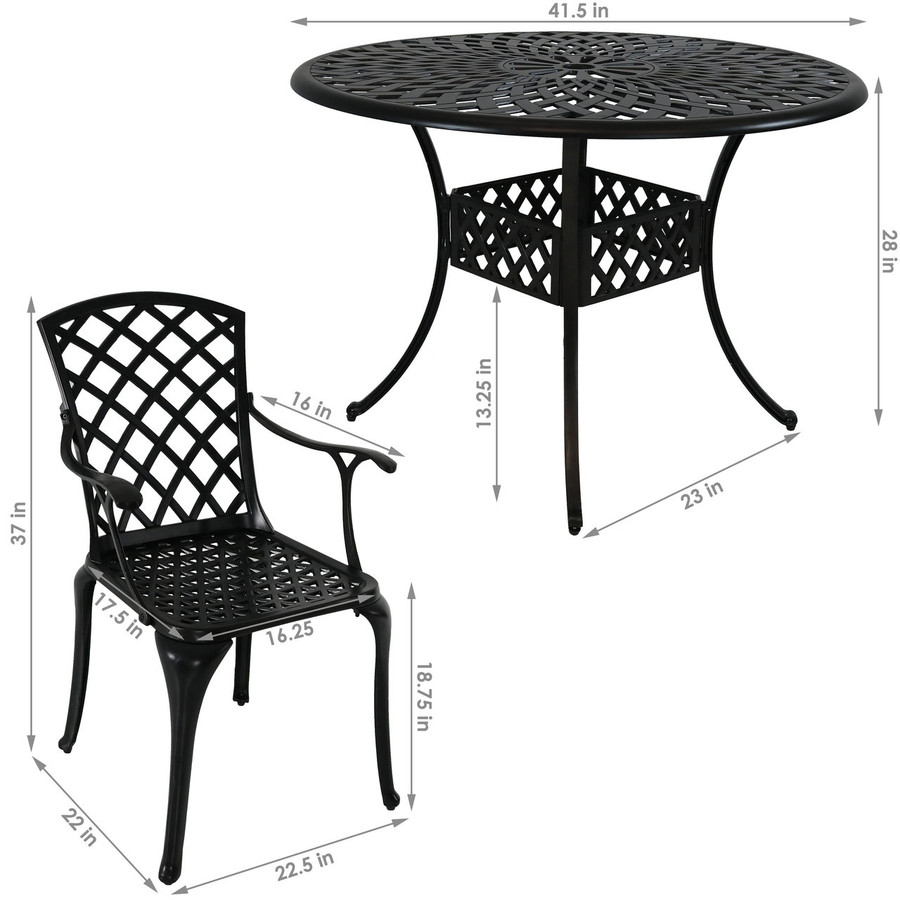 Dimensions of 5-Piece Cast Aluminum Patio Furniture Set