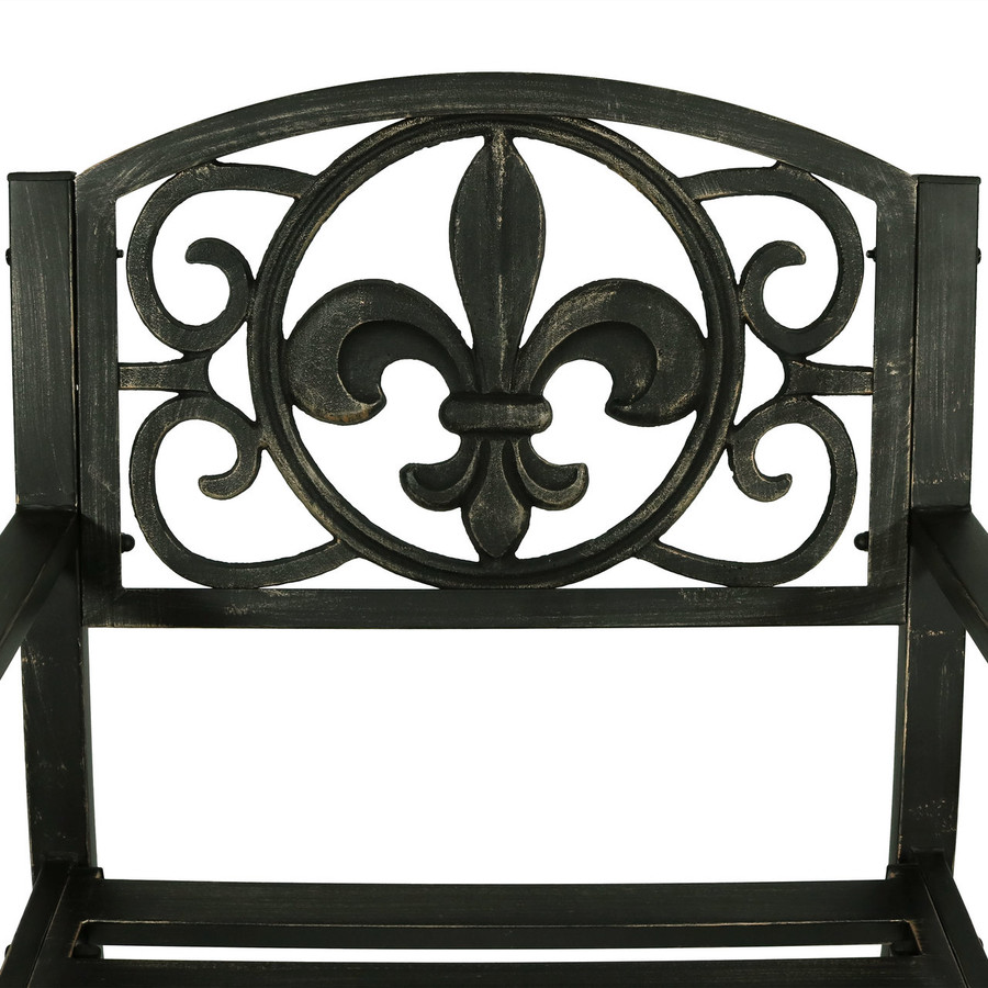 Sunnydaze Patio Rocking Chair, Durable Cast Iron Construction with Fleur-de-Lis Design