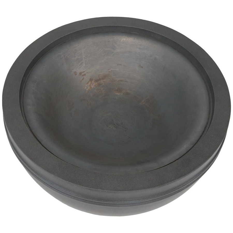 Top View of Large Gray Cast Iron Fire Bowl Fire Pit