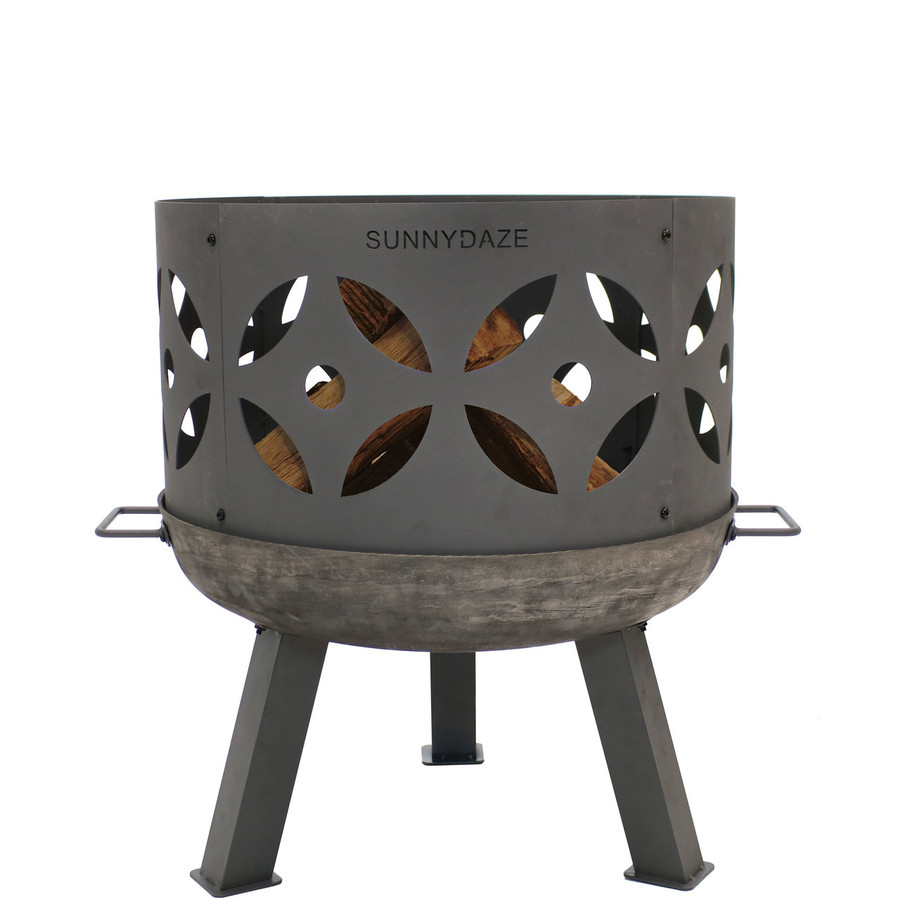 Sunnydaze 26-Inch Retro Fireplace Cast Iron Outdoor Fire Pit with Handles and Spark Screen