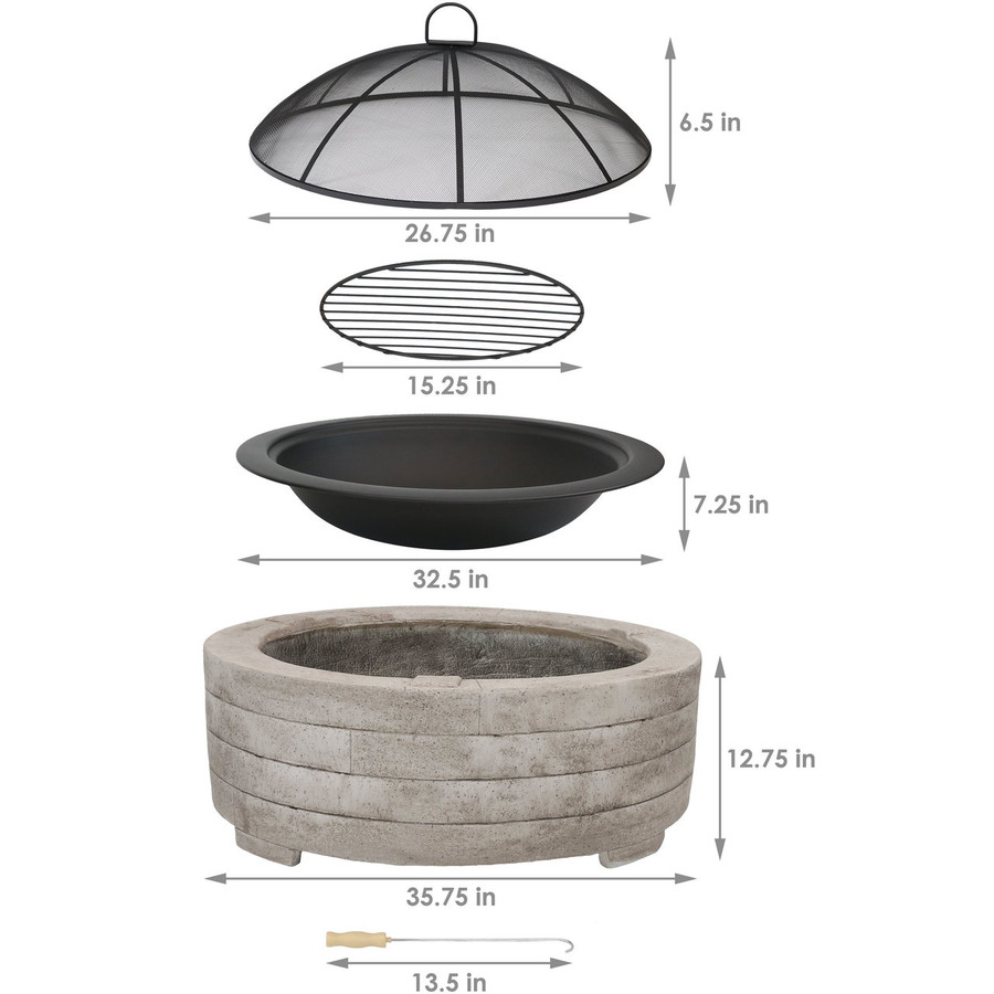 Dimensions of Large Faux Stone Wood-Burning Fire Pit Ring with Steel Fire Bowl and Spark Screen