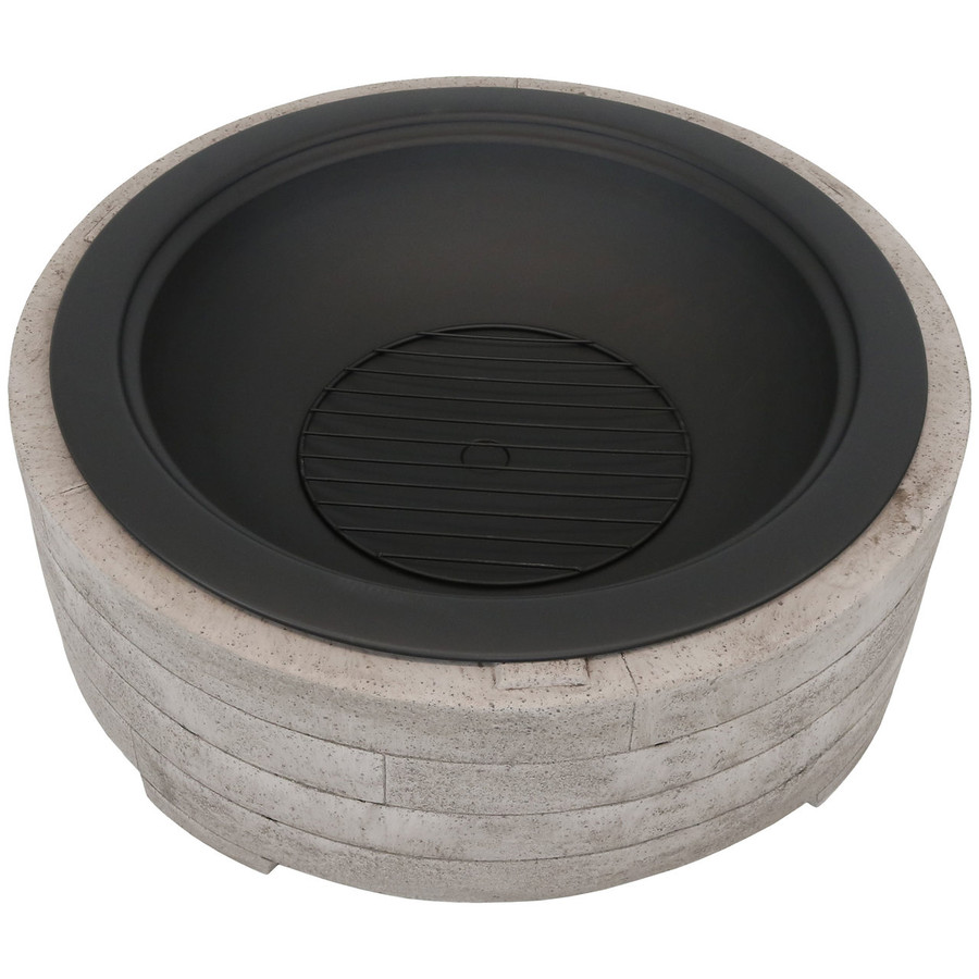 Top View of Large Faux Stone Wood-Burning Fire Pit Ring