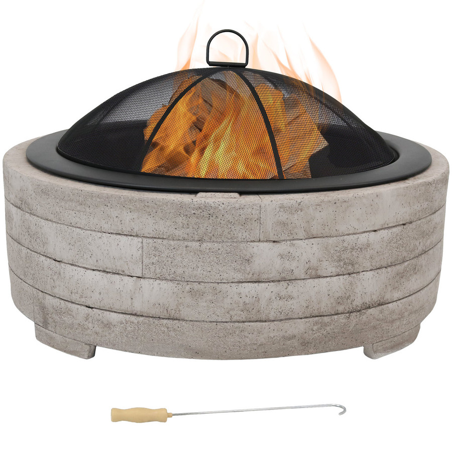 Large Faux Stone Wood-Burning Fire Pit Ring with Steel Fire Bowl, Spark Screen and Poker