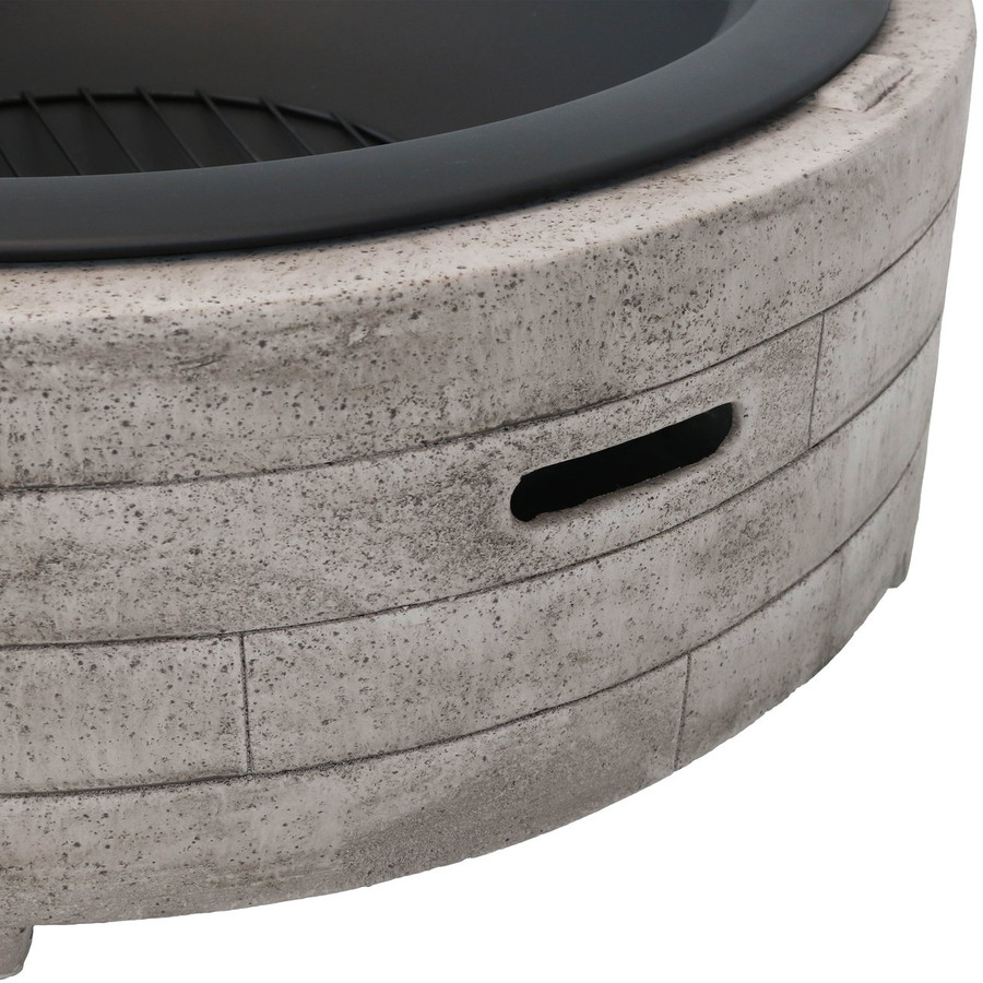 Closeup of Large Faux Stone Wood-Burning Fire Pit Ring