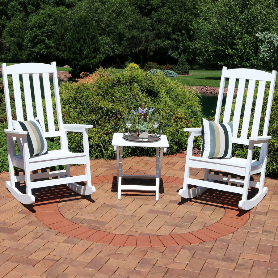 White Set of 2 with Side Table (Cushions Not Included)