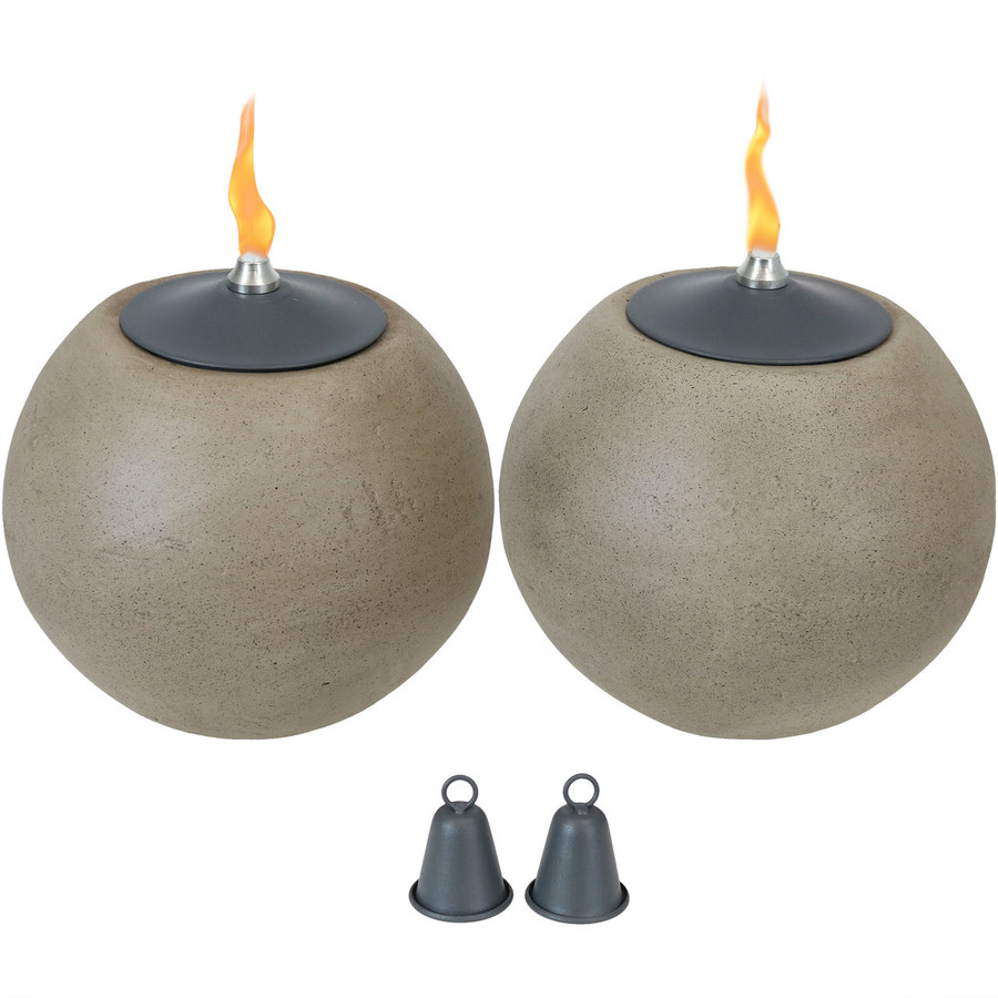 Set of 2 Stone Look Ball Outdoor Citronella Tabletop Torches