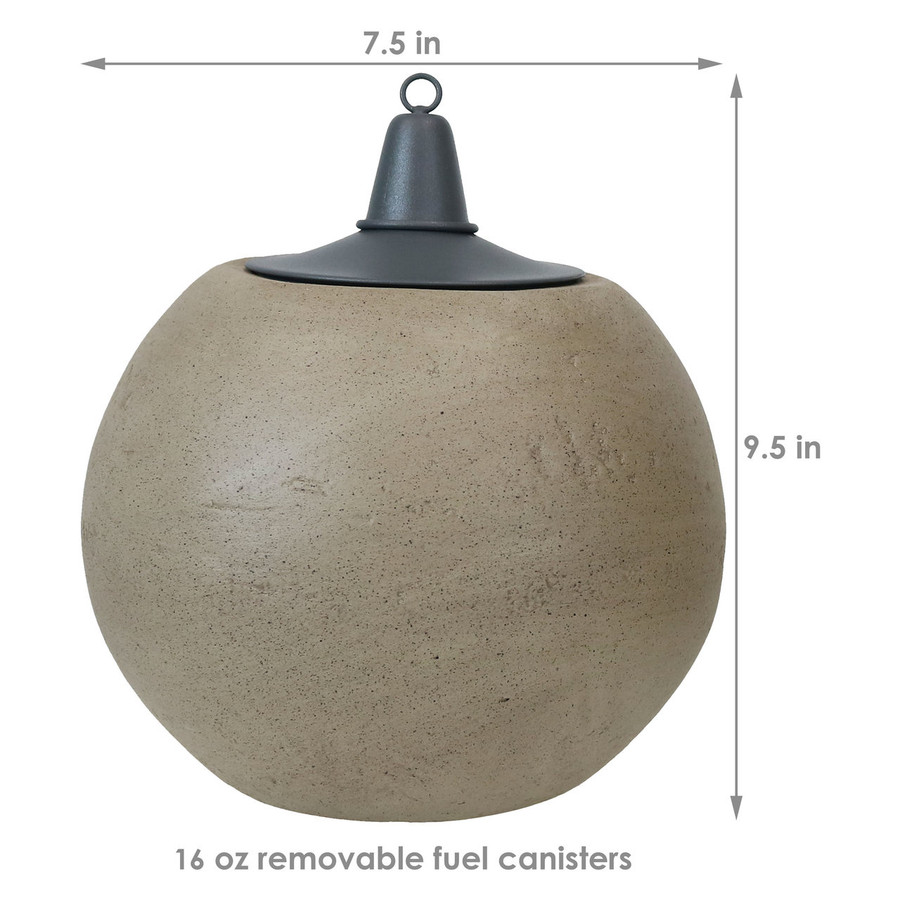 Dimensions of Stone Look Ball Outdoor Citronella Tabletop Torches